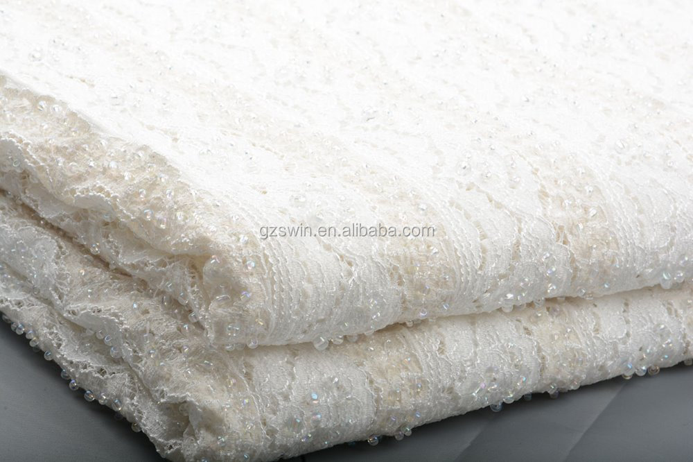 bridal beaded sequin embroidery wedding fabric lace