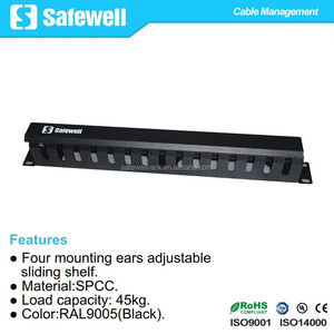 "Safewell 1U Metal Rack Mount Horizontal Cable Management for 19"" Rack"