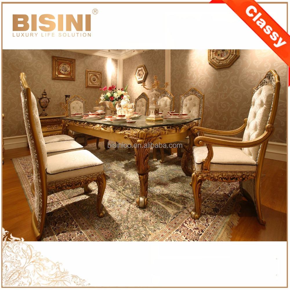 Dise o italiano mesa comedor con sillas de madera tallada for Sillas diseno italiano