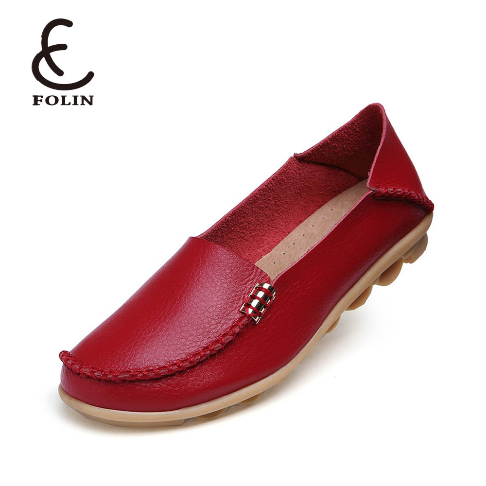 Fashion Ballet Flats Genuine Leather Summer Women Casual Shoes Flat Loafer Comfortable Slip On soft leather sole Moccasins