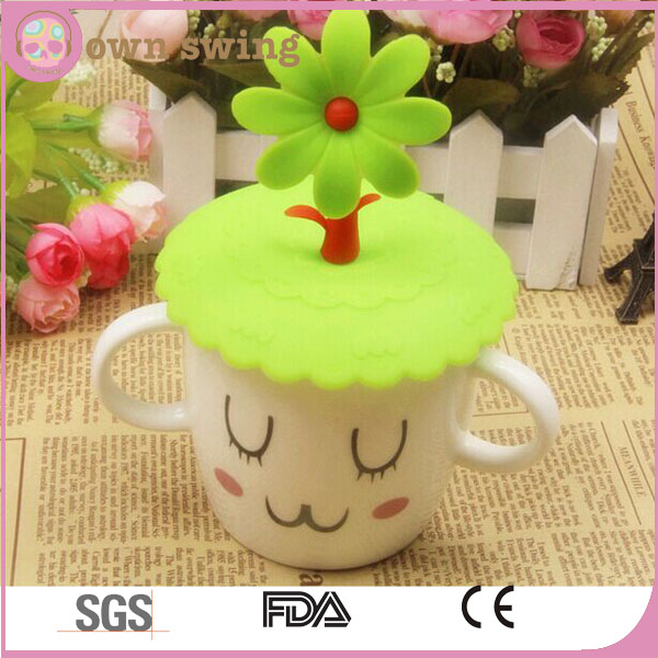 Multi-design Silicone Cartoon Cup Cover Sealed Suction Lid Cap/Anti-dust Silicone Glass Cup Cover Coffee Mug Suction Seal Lid