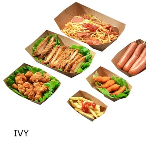 Disposable leak proof food contact directly brown Kraft paper tray custom food box