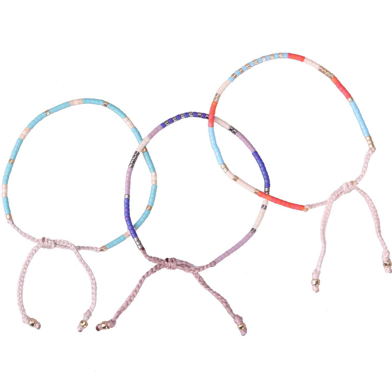 KELITCH Bohemia Beaded Charm Wrap Bracelets New Handmade Friendship Bracelets & Bangles 3 Pcs