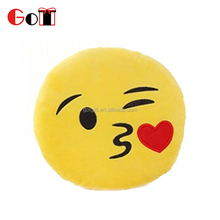 Emoji Kissing Heart Pillow Plush Round Cushion Stuffed Toy Doll for Kids Bed