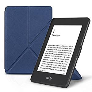 OMOTON Smart Case Cover -- Origami Stand Folio Style PU Leather Smart Cover for your All-New PPW E-book Device (Fits Versions: 2012, 2013, 2014 and 2015 All-new 300 PPI Versions), Classic Navy Blue