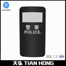 Police Protection Clear Polycarbonate Black Anti Riot Shield With Window