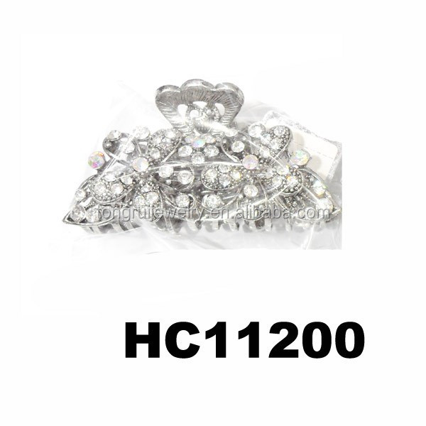 wholesale metal crystal hair claw jaw flower hair clip