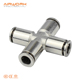 PZA-6MM pneumatic four 4 way union equal copper cross air brass connect pipe fittings