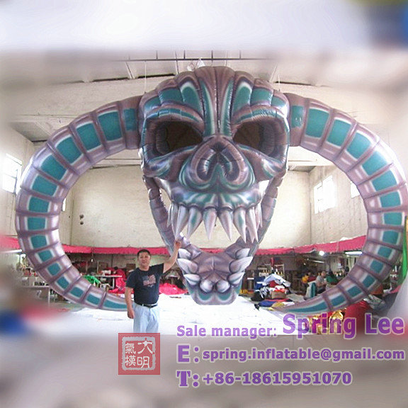 4.7m ceiling deocration hanging inflatable Halloween skull head
