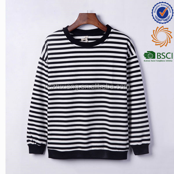 Wholesale 100% Cotton Men's Long Sleeve Blank Striped T-shirts
