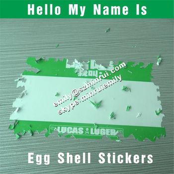 Custom name tag egg shell detructible vinyl stickers with green printed from china100x70mm blank