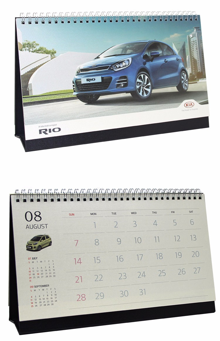 Car advertising new design calendar printing wire-o binding printing foldable desk calendar with shrink wrap as gift calendar