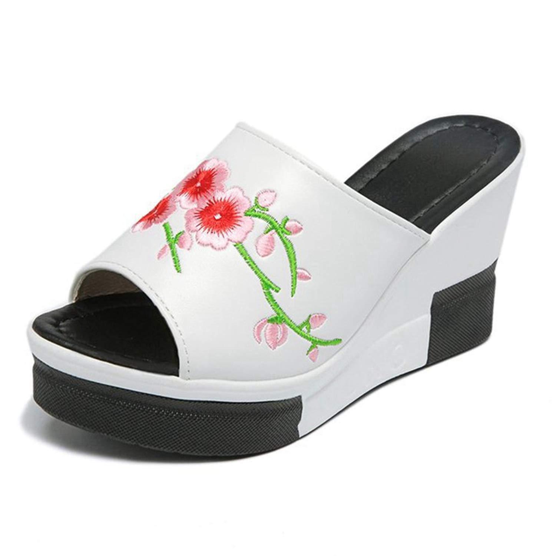 CYBLING Womens Embroidered Slip On Open Back Platform Wedge Heel Slide Sandals