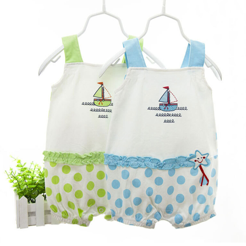 Free Shipping 2015 Summer New Style Cute Girls Clothes Baby Girl Body Suits Sleeveless 100%Cotton Baby Clothing