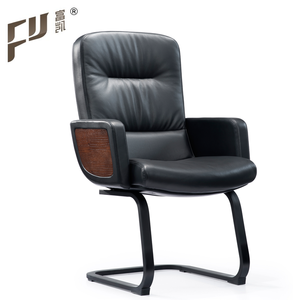 Foshan Antique Soft Genuine Leather Meeting Office Chair with Wood