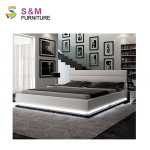 Genuine leather bed high quality LED bed used white leather design