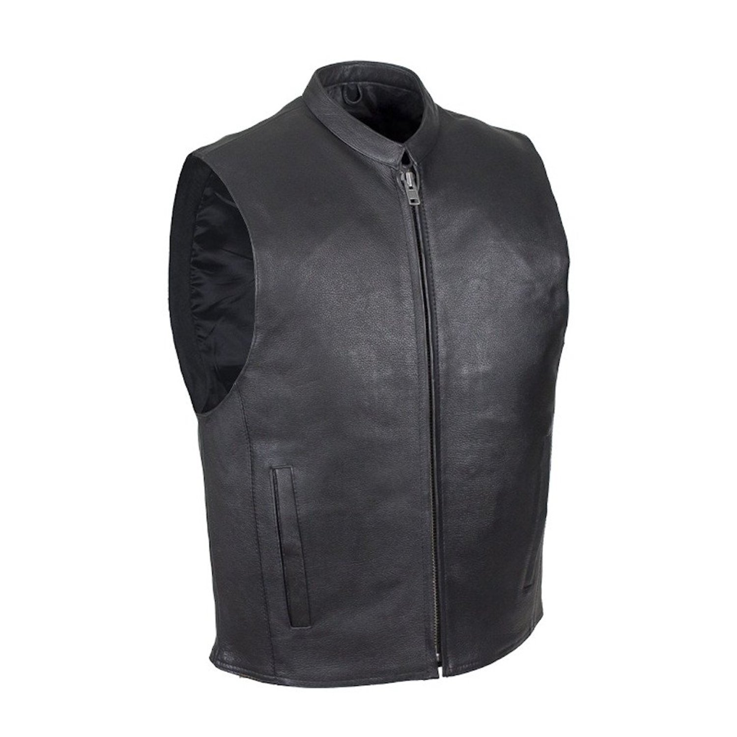Mens Naked Leather Motorcycle Club Vest With Mandarin Stand Up Collar