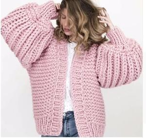 2018 Autumn winter coarse wool hand-knit sweater women V-Neck lazy wind Rough wool Knitted cardigan jacket Coat