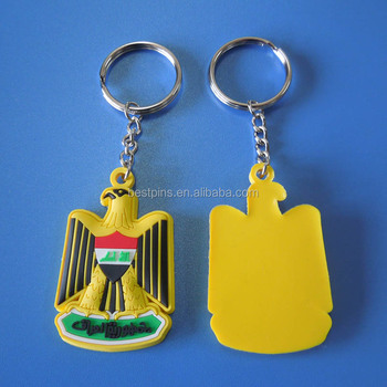 Iraq flag eagle rubber pvc key chains, OEM pvc 3D key holder Iraq national day gifts key rings