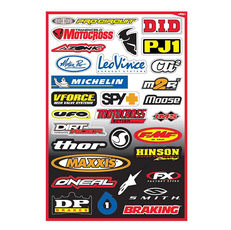 Factory Effex Logo Sponsor Graphics Sticker Sheet B and Fits Kawasaki Kx80 Kx85 Kx100 Kx125 Kx250 Kx500 Kx250f Kx450 Kx450f Kdx200 Kdx220 Klx250 Klx300 1980-2014