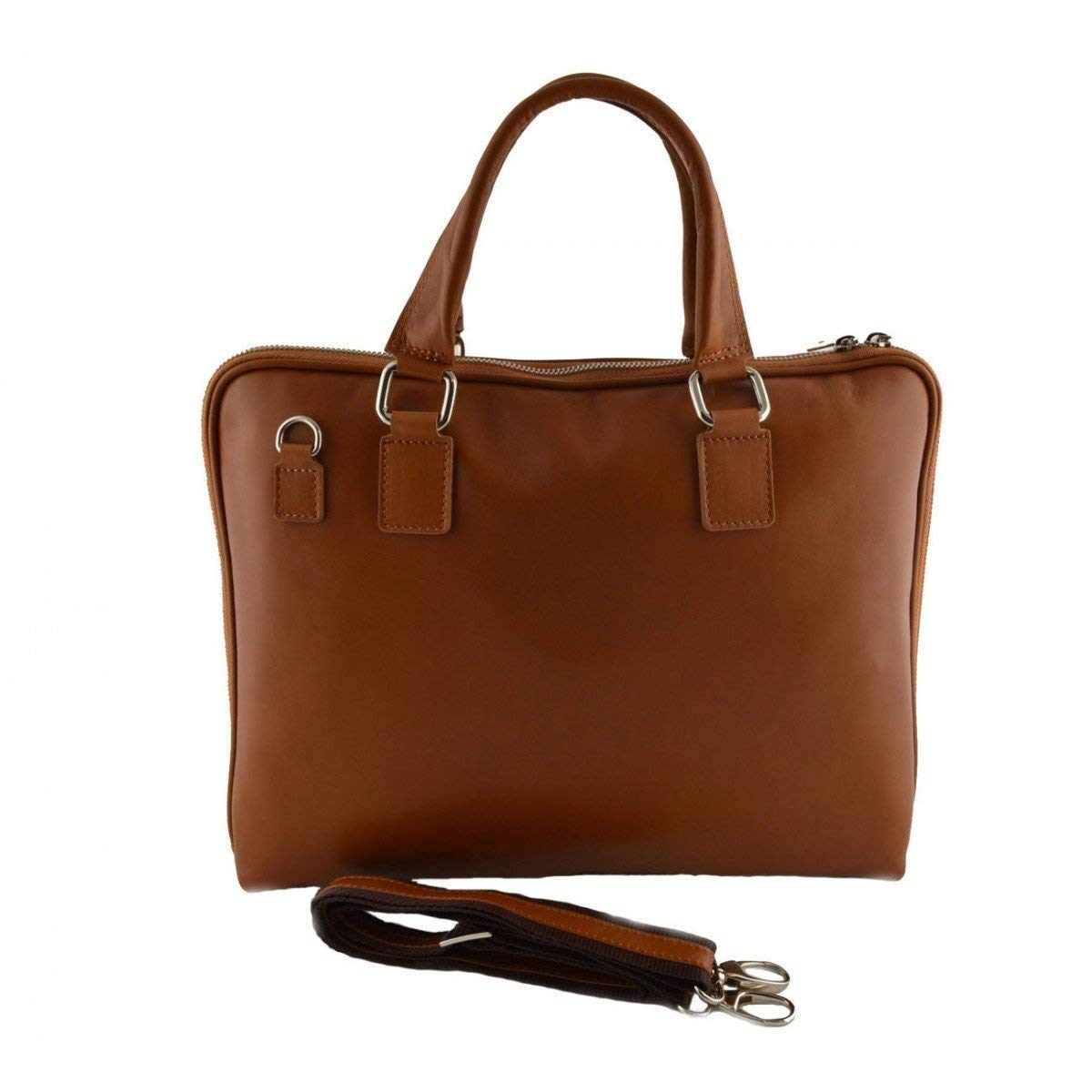 Dream Leather Bags Made in Italy Genuine Leather Genuine Leather Woman Briefcase Color Cognac