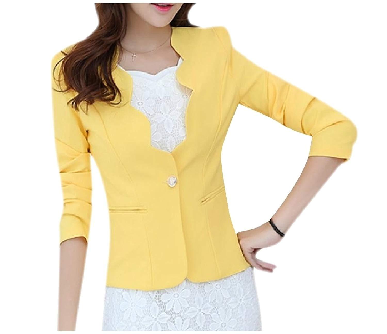 Zimaes-Women Trim-Fit Solid-Colored Pocket Blazer Suit Coat Tops