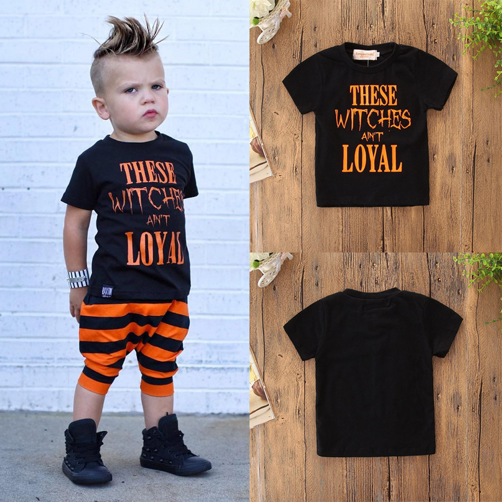 1a564039e4302 Halloween Toddler Kids Baby Boys Letter Shortsleeve Tops Clothes Outfits  Casual wear Wholesale&Dropshipping