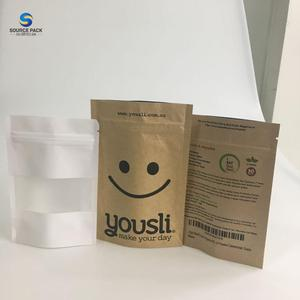 Recyclable Tea pouch candy plastic bag packaging Cereals kraft paper bag with logo print