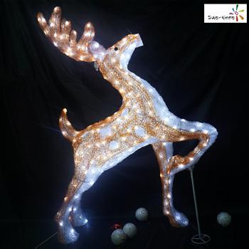 christmas decorations decorative acrylic led animated white deer - White Deer Christmas Decoration