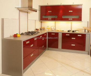 Thailand Project High Gloss Red Lacquer Kitchen Cabinet Simple