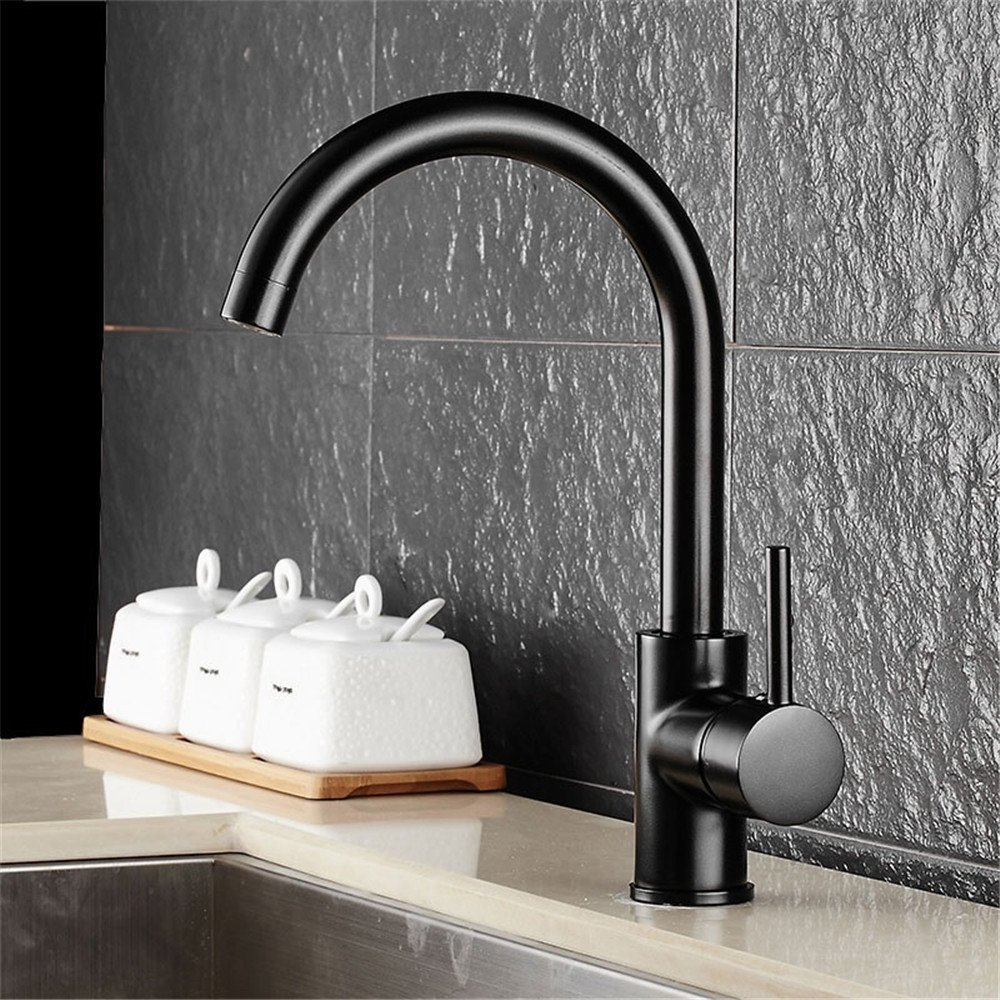 FHLYCF Kitchen faucet, all copper black paint faucet, stainless steel sink, dish basin faucet, rotary water tank faucet