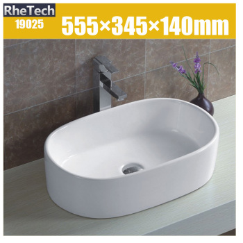 Countertop Bathroom Ceramic Wash Basin Sink Oval Shape