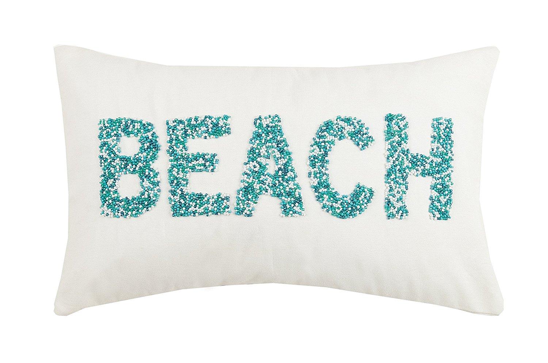 Peking Handicraft Beach Beaded Pillow, Turquoise