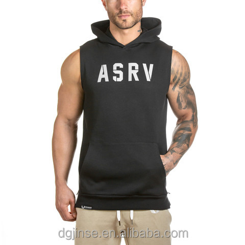 The spring autumn men streetwear casual joker sports fitness vest pullover sleeveless fleece hoodie for men