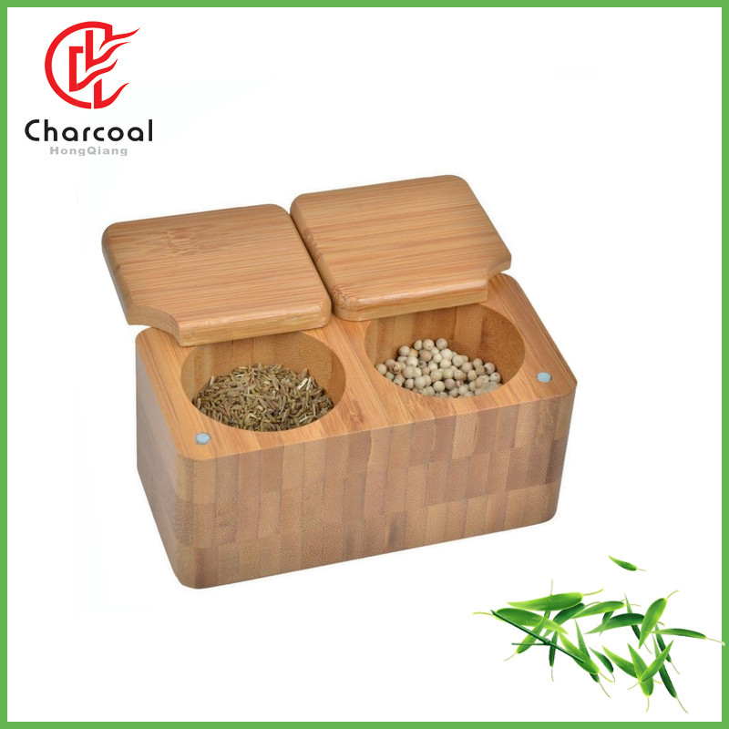 bamboo two compartment salt box