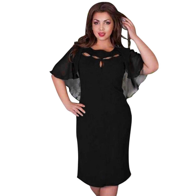 NEARTIME ❤️Women Dress,Hot 2018 Girls Summer Spring Casual Solid Chiffon V-Neck Evening Party Long Dress (XL, Black)