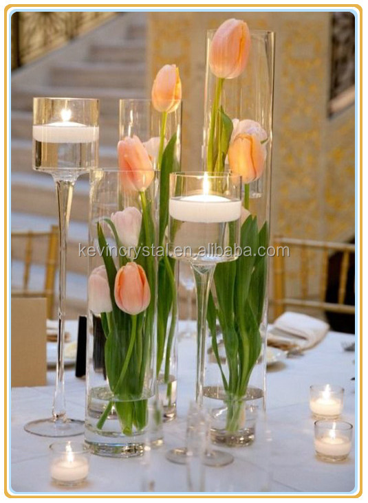 wedding table glass trio pedestal candle holder/tall glass hurricane candle holders/set of 3 glass candle holder