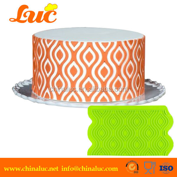 Silicone Onlay Mould 3D Cake Stencil Ikat Lattice Silicone ...
