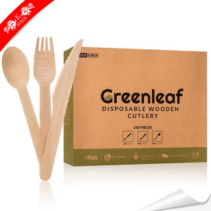 Eco-friendly new design wooden cutlery disposable with certification