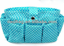 Green round dot style 18x13x6cm cosmetic bag makeup bag brush lipstick holder
