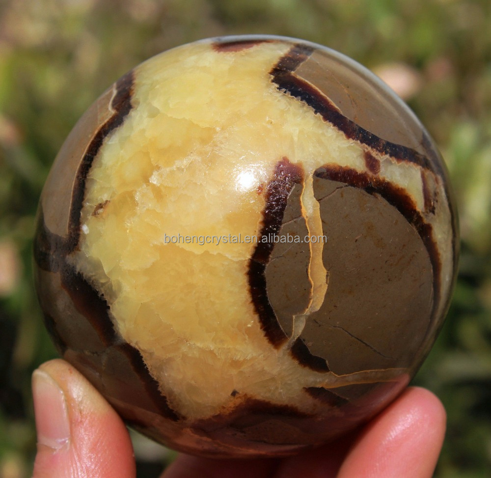 Natural Septarian Dragon Crystal Gem Quartz Sphere Ball Stone