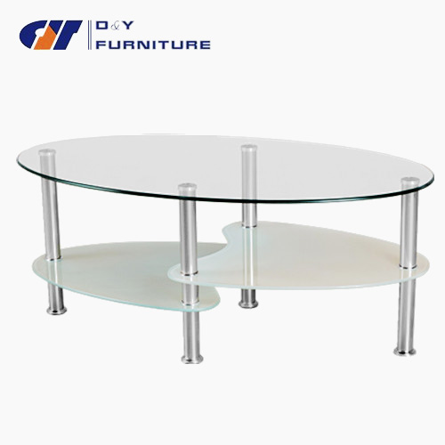 De forme ovale en verre tremp table basse ikea table - Table basse ovale en verre ...