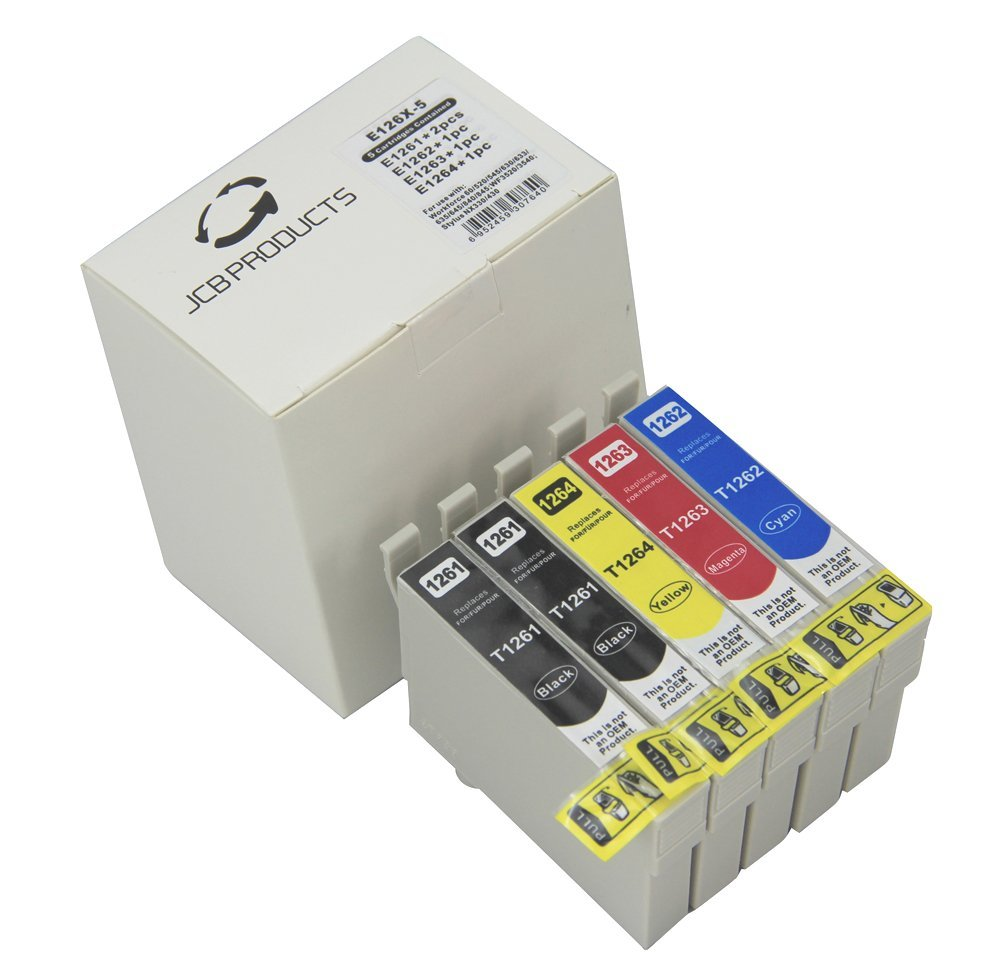 JCB Products Compatible Ink Cartridge Replacement For Epson T126 (2x Black, 1x Cyan, Magenta, Yellow 5-Pack) Ink
