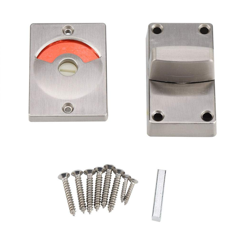 Indicating Lock Stainless Steel Bolt Door Lock Indicator Bolt Vacant/Engaged Bathroom WC Public Restroom Toilet Privacy Partition Door Lock Latch with Screws