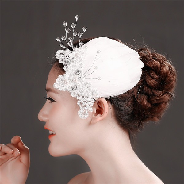 Fashion white feather pearl top hat bridal hair accessory handmade headband MLF115