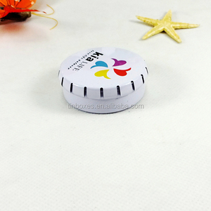 Customized small round click clack sugar tin can mint tin box