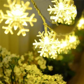 battery operated waterproof christmas wedding decoration fairy festoon micro snow shaped led string lights