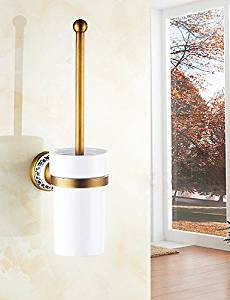 SSBY Ceramic and Copper Toilet Brush Holder , Traditional Antique Wall Mounted