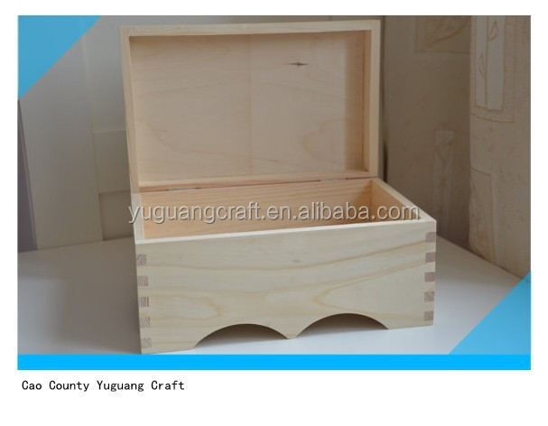 Big unfinished wooden box from natural wood