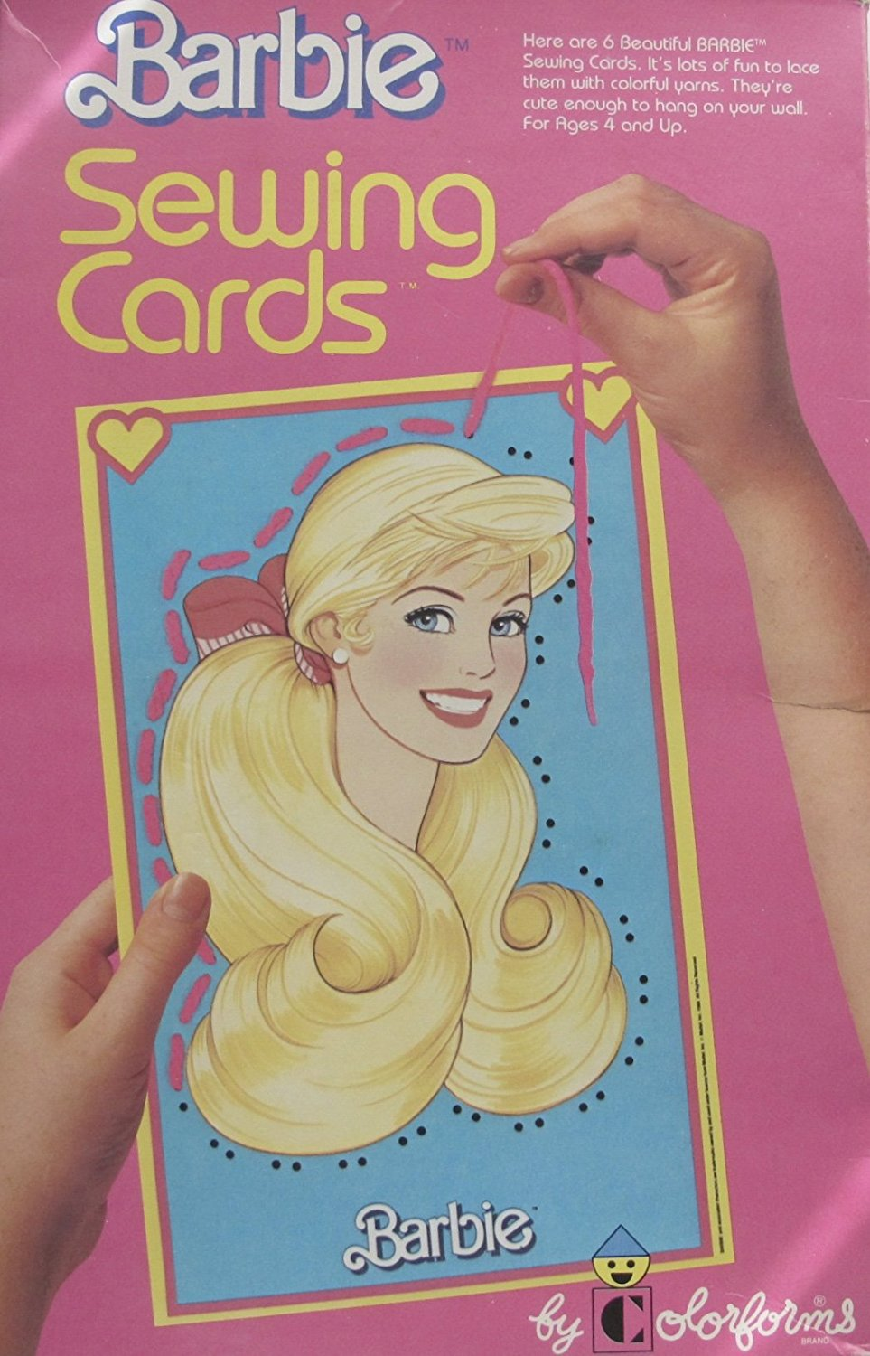 "Colorforms BARBIE Craft SEWING CARDS w 2 - 12"" X 7-5/8"" Sewing CARDS & 4 - 6"" X 7-5/8"" Sewing CARDS & 6 - Colorful YARN LACES (1988)"